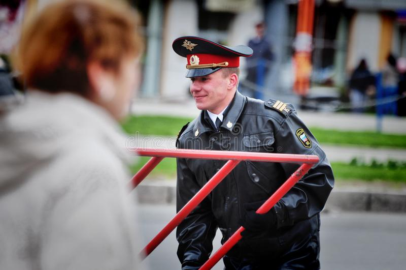 Police officers are on duty during the victory day. Barnaul,Russia-may 9, 2018. Police officers are on duty during the victory day royalty free stock photos