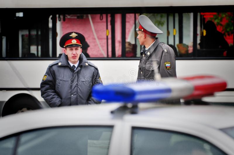 Police officers are on duty during the victory day. Barnaul,Russia-may 9, 2018. Police officers are on duty during the victory day stock photo