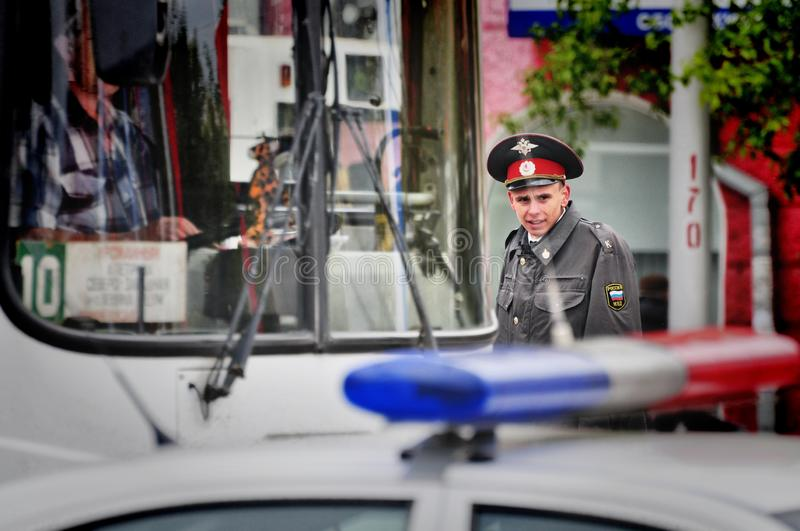 Police officers are on duty during the victory day. Barnaul,Russia-may 9, 2018. Police officers are on duty during the victory day royalty free stock image