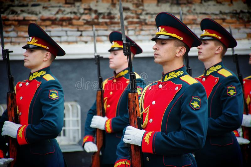 Soldiers of the honor guard Platoon of the Ministry of internal Affairs. Barnaul,Russia-may 18, 2019.soldiers of the honor guard Platoon of the Ministry of stock photos