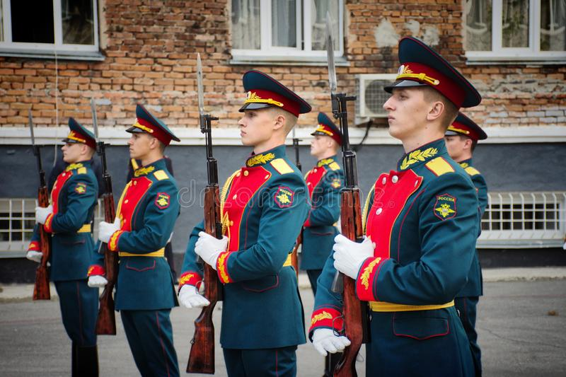 Soldiers of the honor guard Platoon of the Ministry of internal Affairs. Barnaul,Russia-may 18, 2019.soldiers of the honor guard Platoon of the Ministry of royalty free stock image