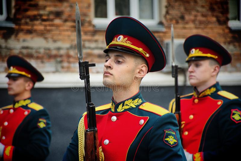 Soldiers of the honor guard Platoon of the Ministry of internal Affairs. Barnaul,Russia-may 18, 2019.soldiers of the honor guard Platoon of the Ministry of royalty free stock photos