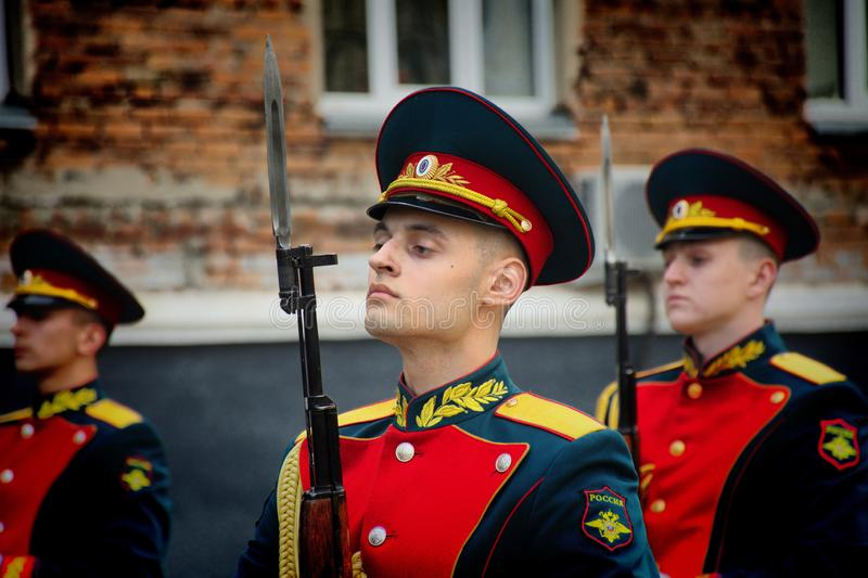 Soldiers of the honor guard Platoon of the Ministry of internal Affairs. Barnaul,Russia-may 18, 2019.soldiers of the honor guard Platoon of the Ministry of stock image