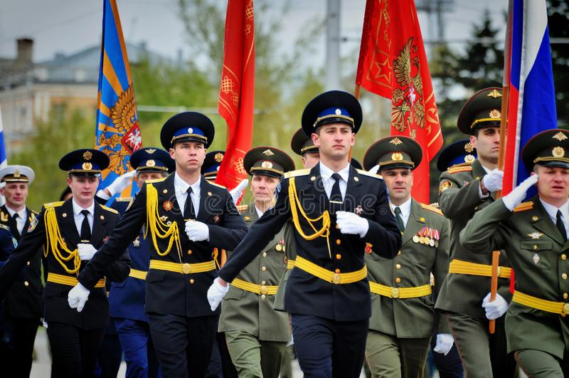 Soldiers and officers of the Russian army. Barnaul,Russia-may 9, 2017.Soldiers and officers of the Russian army royalty free stock images