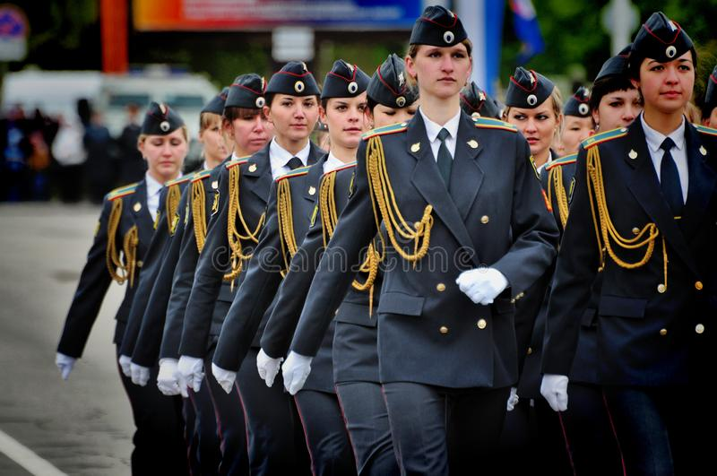 Soldiers and officers of the Russian army. Barnaul,Russia-may 9, 2017.Soldiers and officers of the Russian army royalty free stock photos
