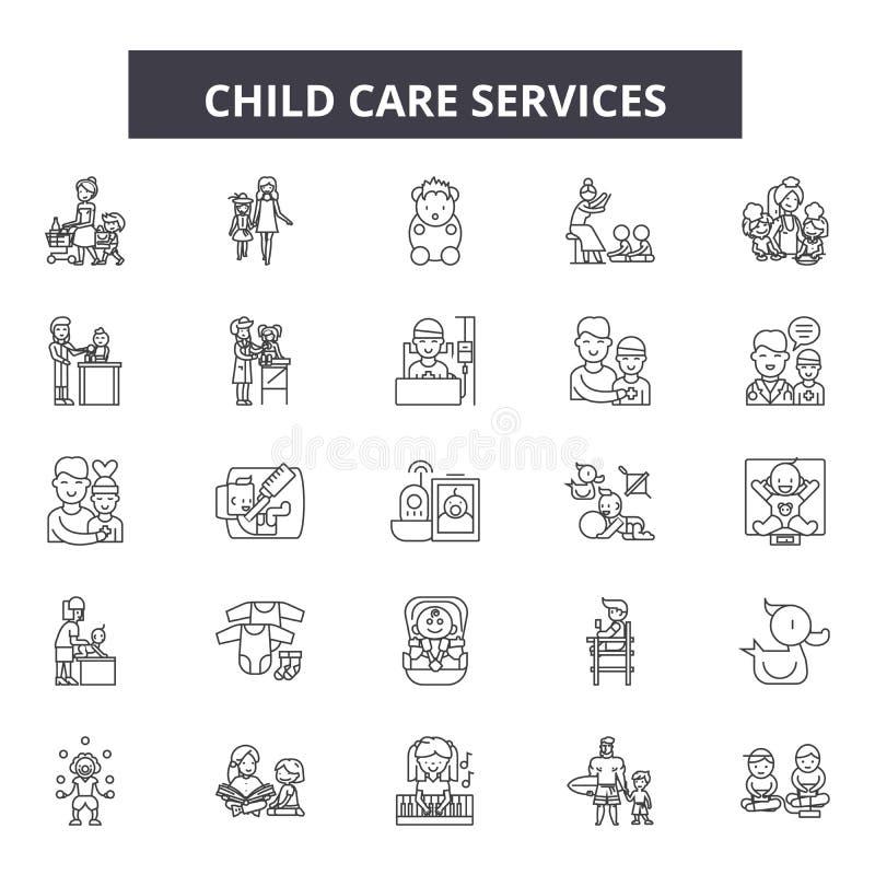 Barnavårdservicelinje symboler, tecken, vektoruppsättning, översiktsillustrationbegrepp vektor illustrationer