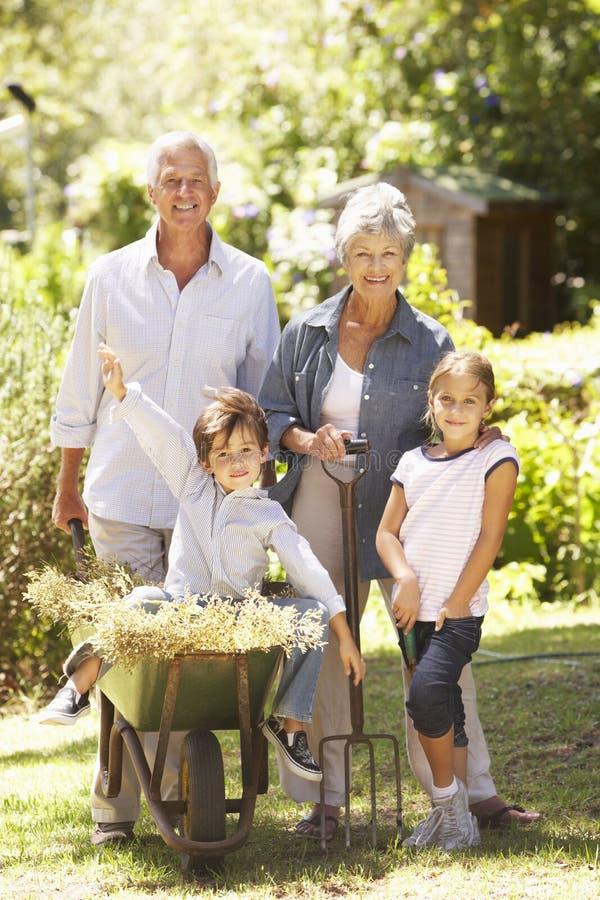 Barnbarn som hjälper morföräldrar i trädgårds- hemmastatt royaltyfria foton