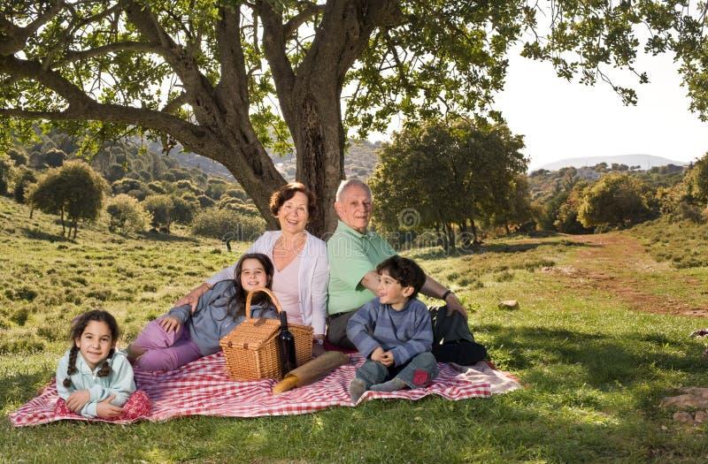barnbarnmorförälderpicknick royaltyfria foton