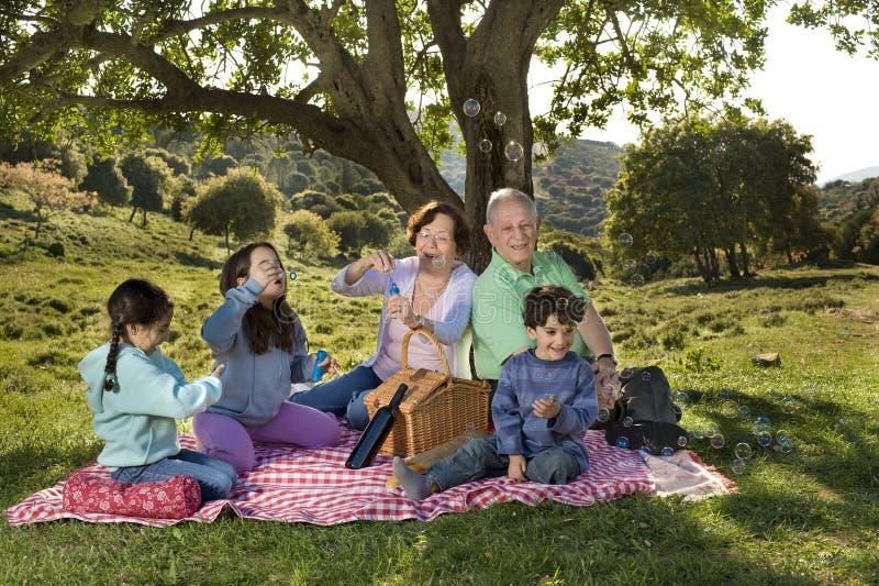 barnbarnmorförälderpicknick arkivfoton