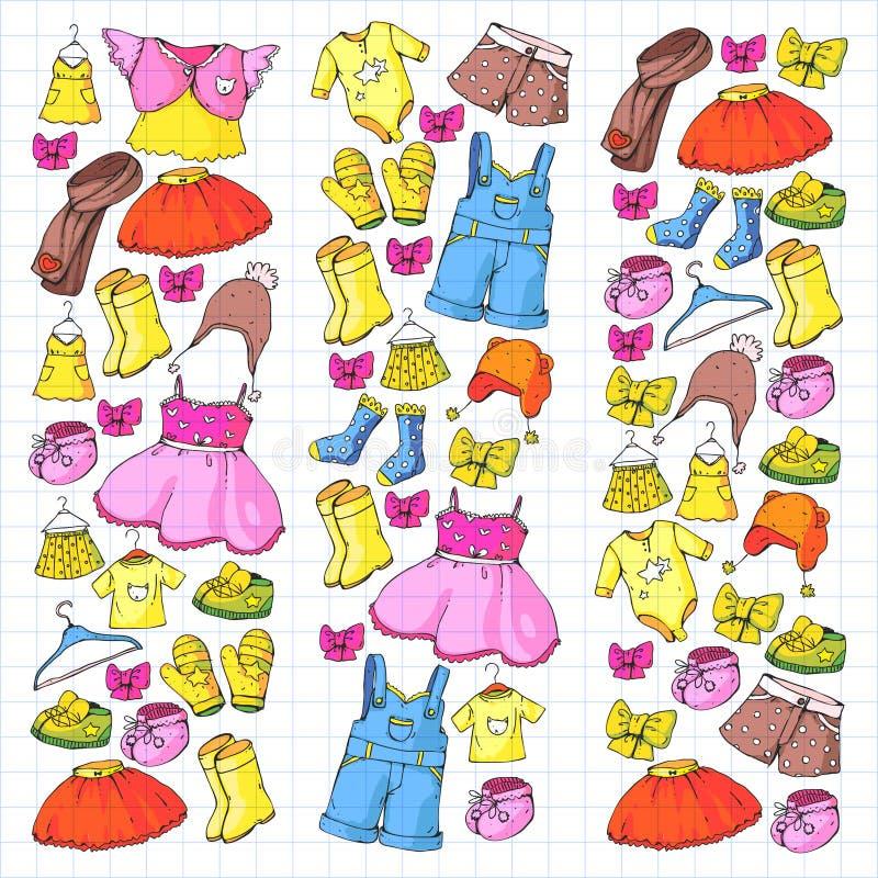 Barnbekläda och mode Klänning kjol, kortslutningar halsduk, byxa för pojkar och flickor fashion ungar Sommar vinter royaltyfri illustrationer