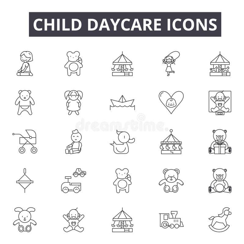 Barndaycarelinje symboler för rengöringsduk och mobil design Redigerbart slaglängdtecken Illustrationer för begrepp för barndayca vektor illustrationer