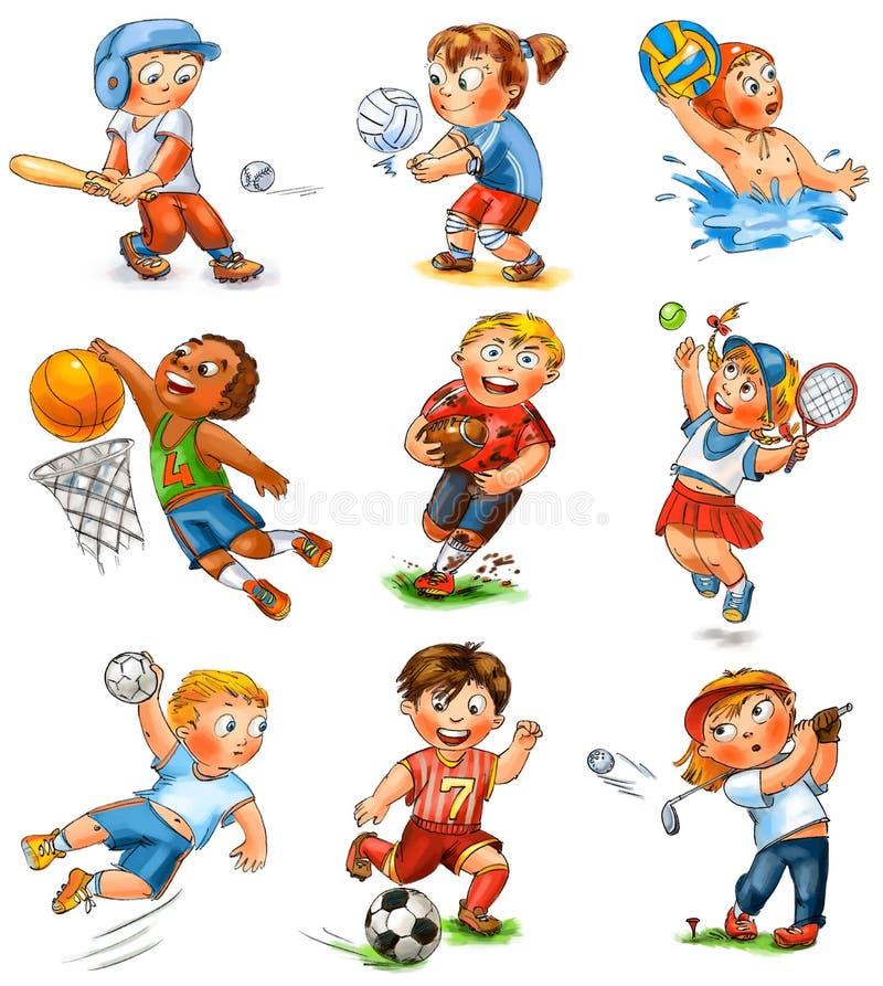 Barndeltagande i sportar stock illustrationer