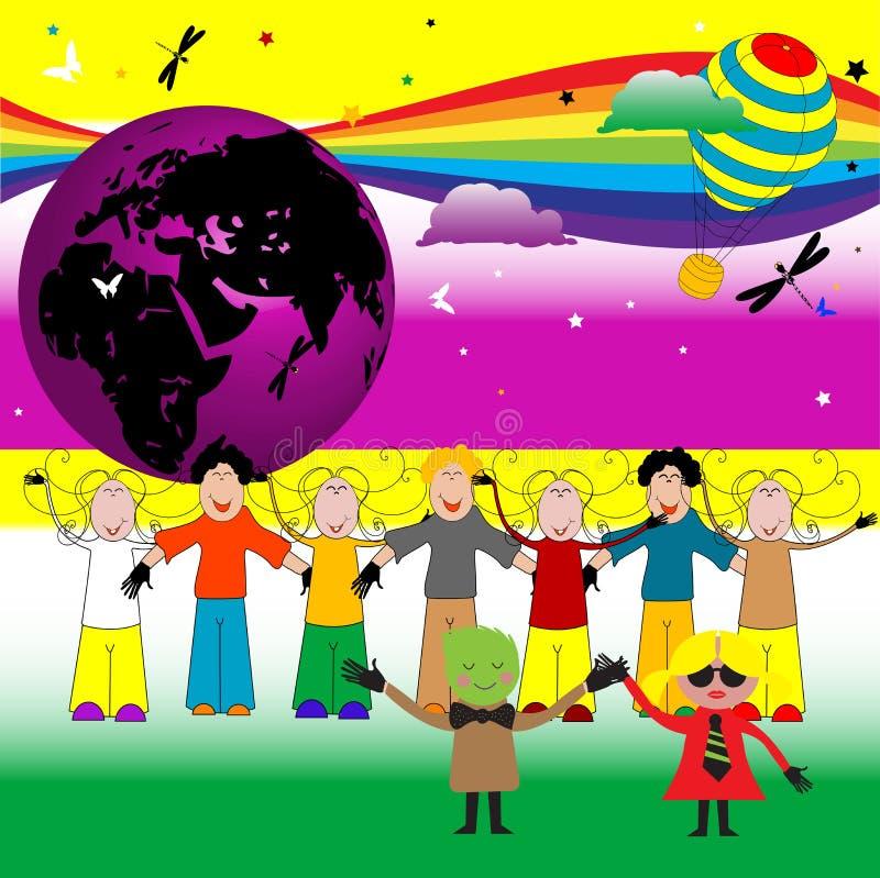 barndeltagare royaltyfri illustrationer