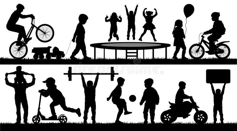 Barndom ungar, olika händelser royaltyfri illustrationer