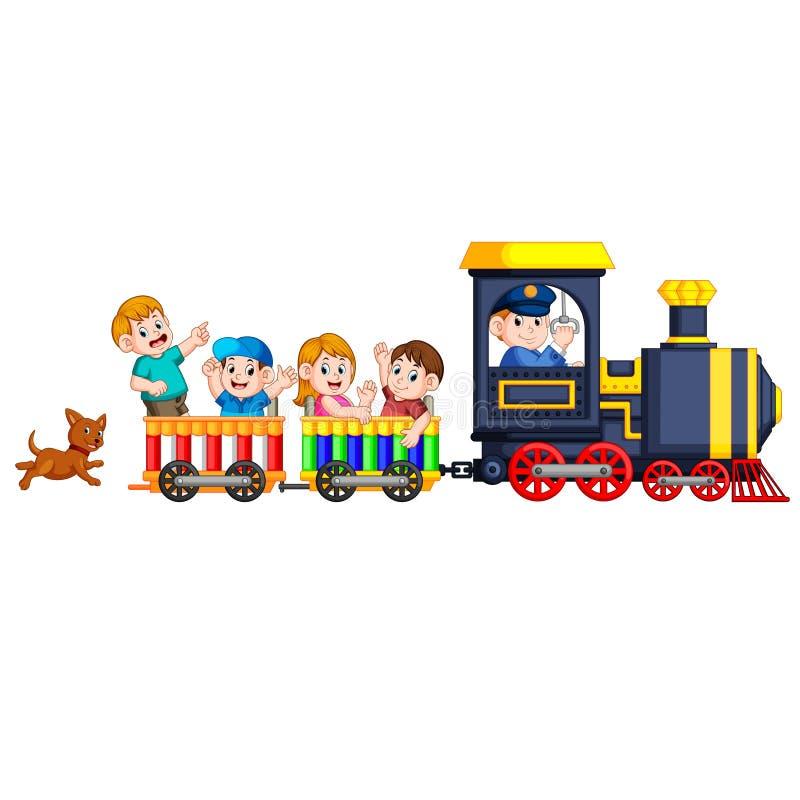 Barnen och teknikern av lokomotivet får in i drevet, och hunden följer dem baktill stock illustrationer