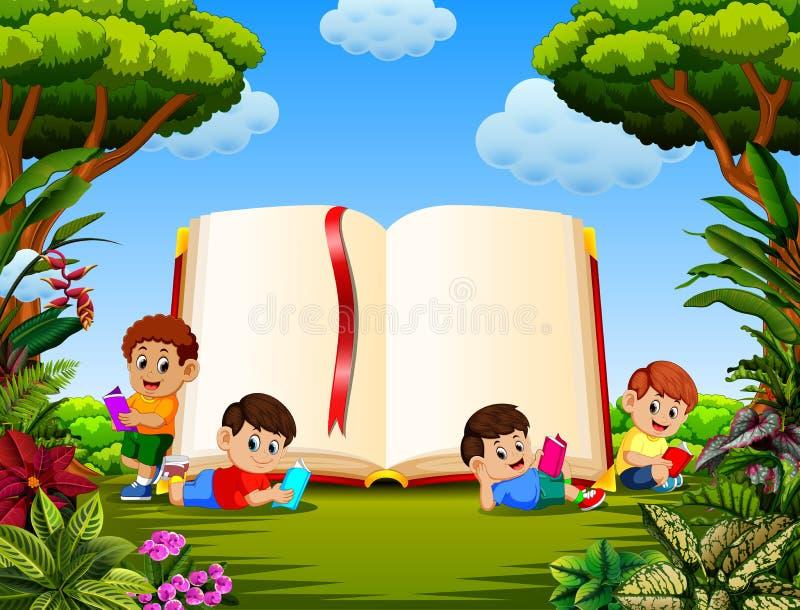 Barnen som läser boken i olikt posera med den stora boken i trädgården vektor illustrationer