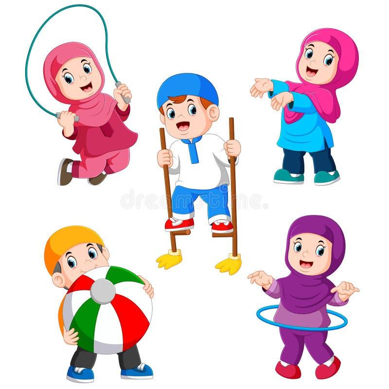 Barnen spelar med deras olika leksaker stock illustrationer