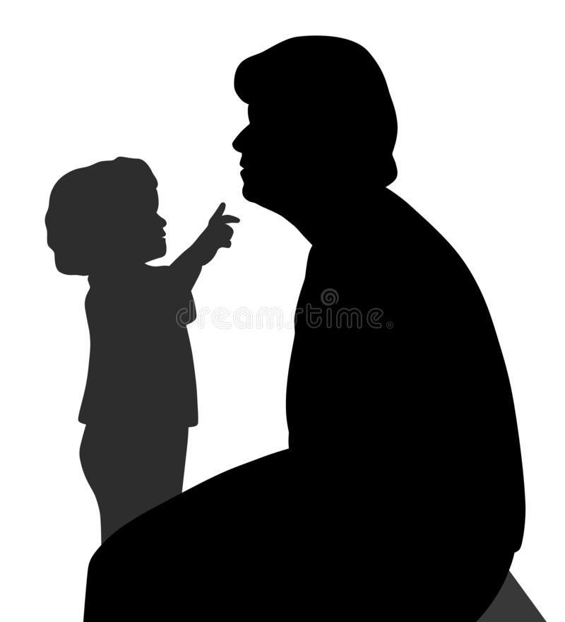 Barnet önskar att trycka på farmoderns haka royaltyfri illustrationer