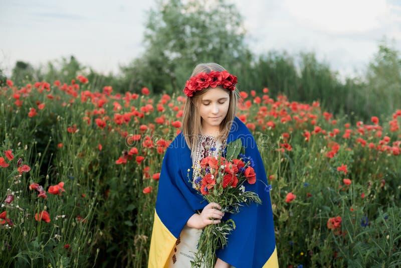 Barnet bär att fladdra den blåa och gula flaggan av Ukraina i vallmofält Ukraine& x27; s-sj?lvst?ndighetsdagen f?r dagfyrverkerie royaltyfri foto