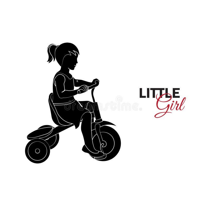 Barnet behandla som ett barn cykla flickan little ridning royaltyfri illustrationer