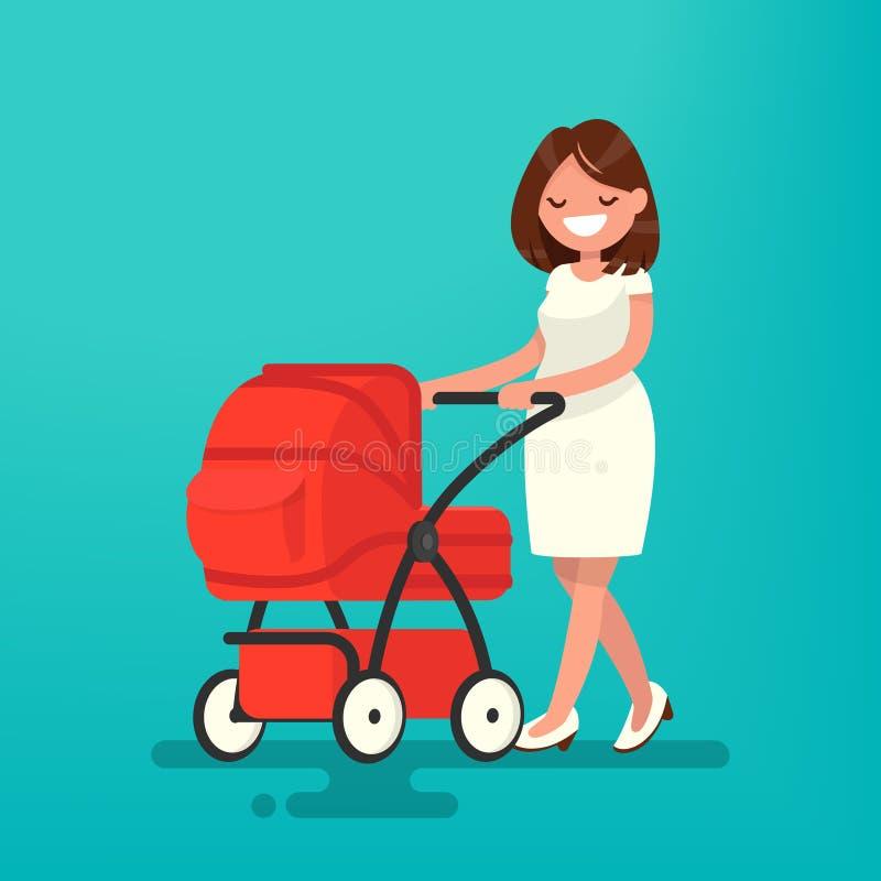 Barnet fostrar att gå med ett nyfött som är i pramen vektor vektor illustrationer