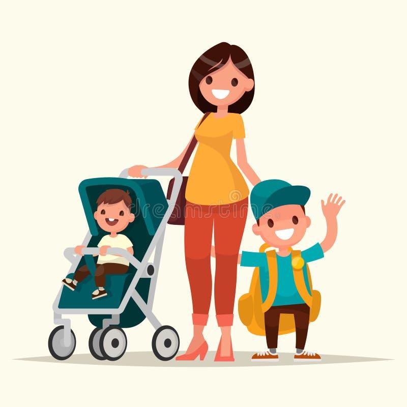 Barnet fostrar med en behandla som ett barn i en sittvagn och en sonskolpojke Vect vektor illustrationer