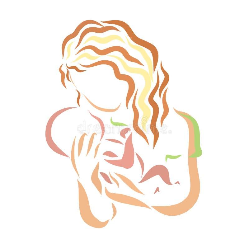 Barnet fostrar med nyfött på hennes händer, mjukhet vektor illustrationer