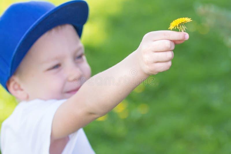 Barnet ger en gul maskros arkivbilder