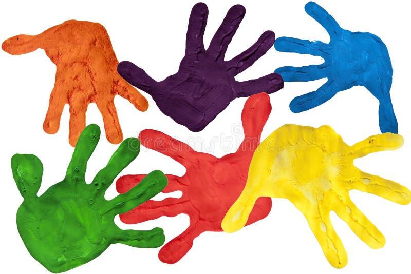 barnet hands målarfärgtryck arkivbilder