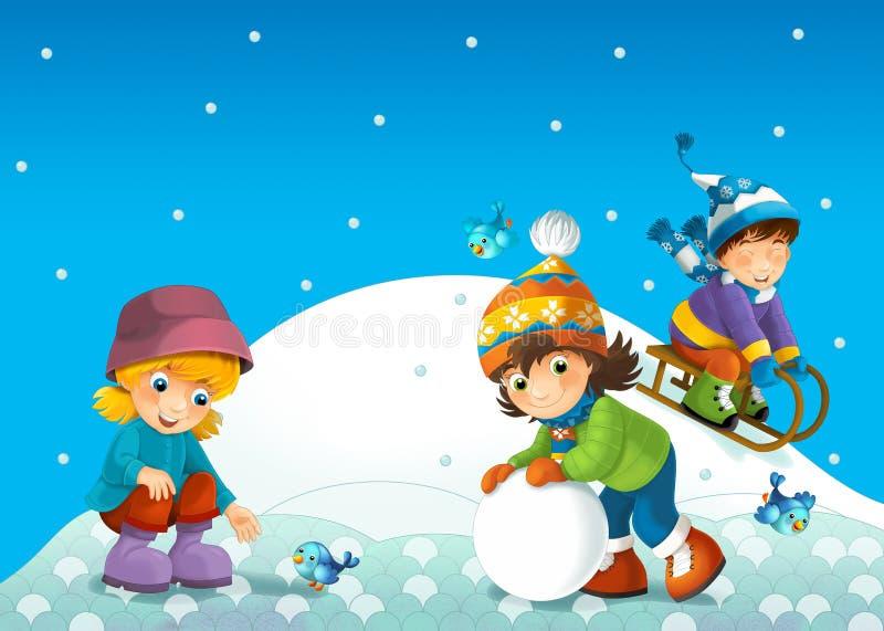 Barnet i vintern på pulkan stock illustrationer