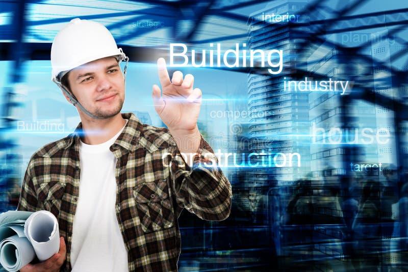 Barnet iscensätter, arkitekten, affärsmannen som pekar på byggnad, och konstruktionsbegreppet arkivbilder