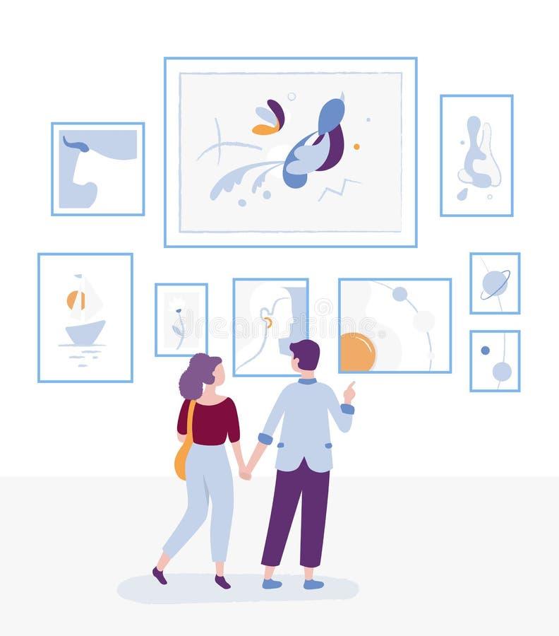 Barnet kopplar ihop att besöka konstgallerit och att se målningar på en vägg, en museumkonstutställning och en man och en kvinna  vektor illustrationer
