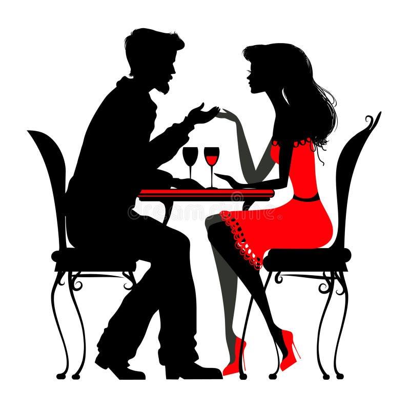 Barnet kopplar ihop förälskat sammanträde i ett kafé 2 kontur detaljerat v stock illustrationer