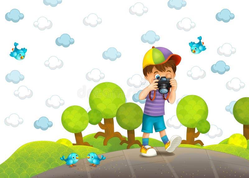 Barnet med kameran stock illustrationer