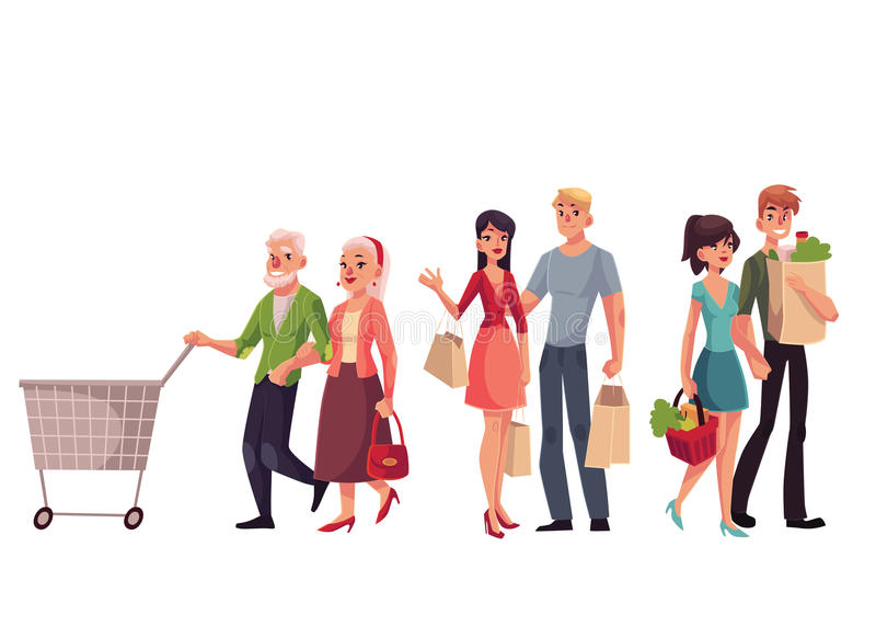Barnet mitt åldrades, och gammalt, kopplar ihop pensionären shopping stock illustrationer