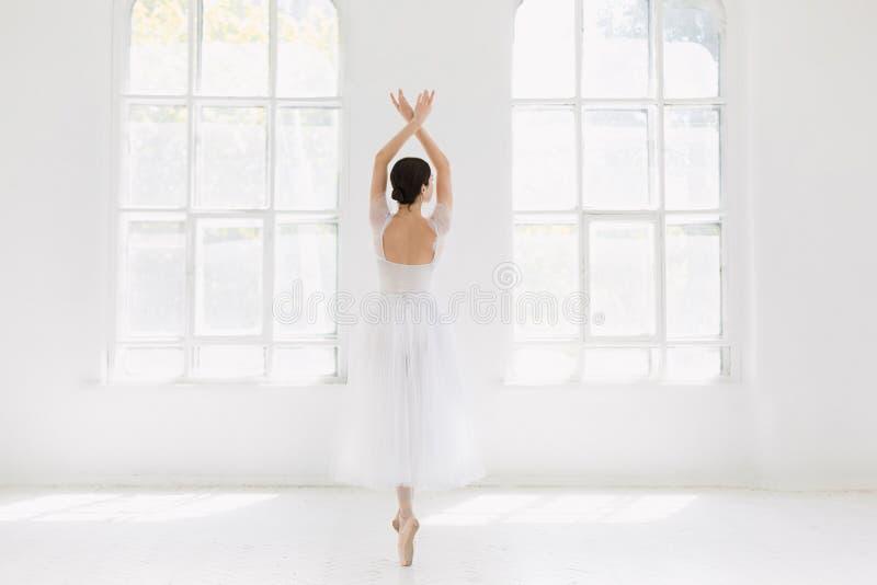 Barnet och den incredibly härliga ballerina är posera och dansa i en vit studio royaltyfria bilder