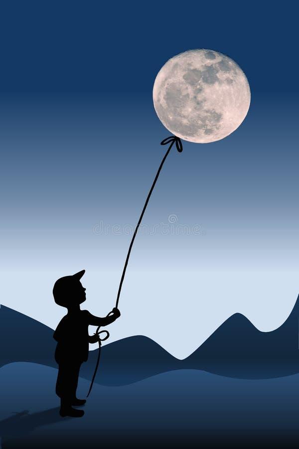 Barnet och fullmånen, illustration royaltyfria foton