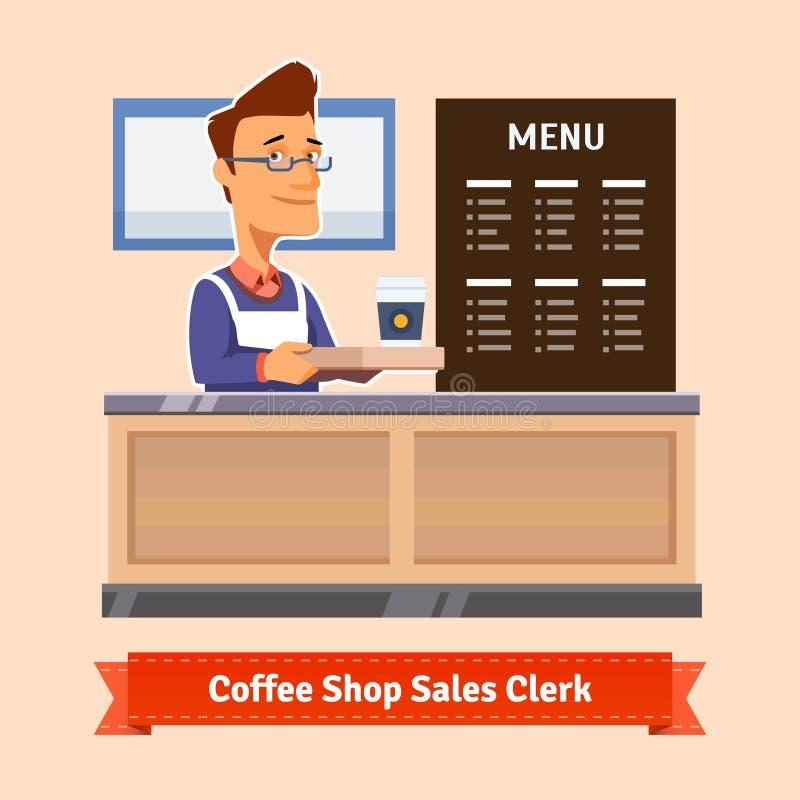 Barnet shoppar assistenten som tjänar som en kopp kaffe royaltyfri illustrationer