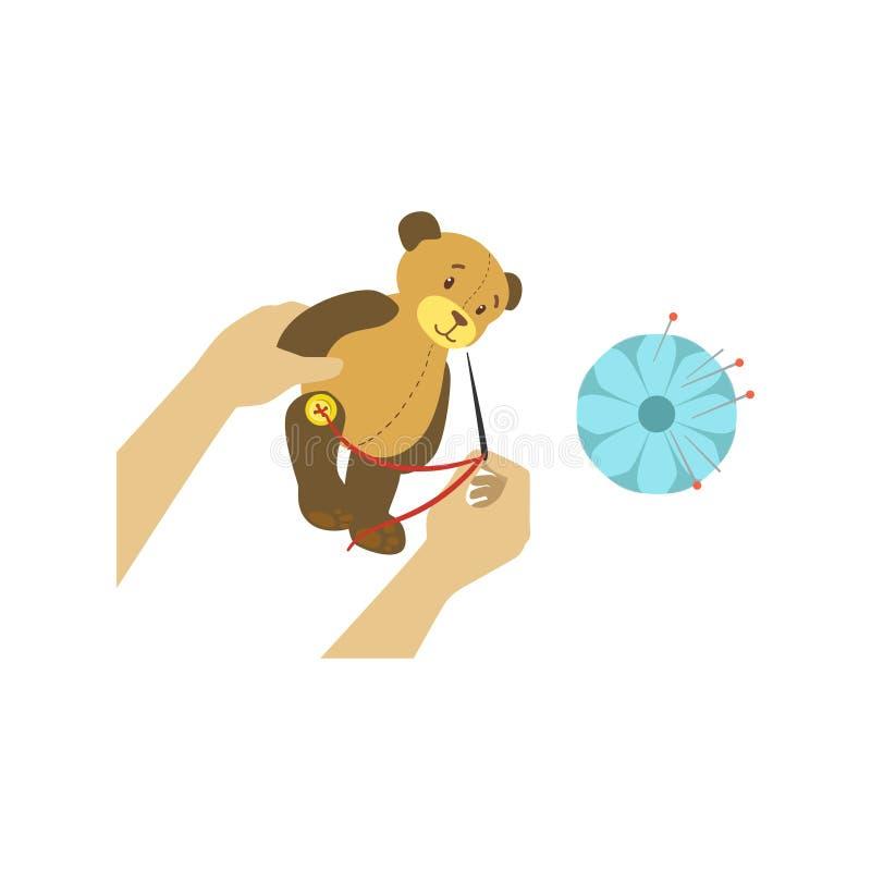 Barnet som gör Toy Bear Illustration With Only, räcker synligt från över stock illustrationer