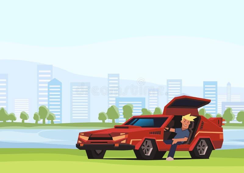 Barnet som ler grabbsammanträde i röd racerbil på stad, parkerar bakgrund Handelsresande i den naturliga miljön Plan vektor royaltyfri illustrationer
