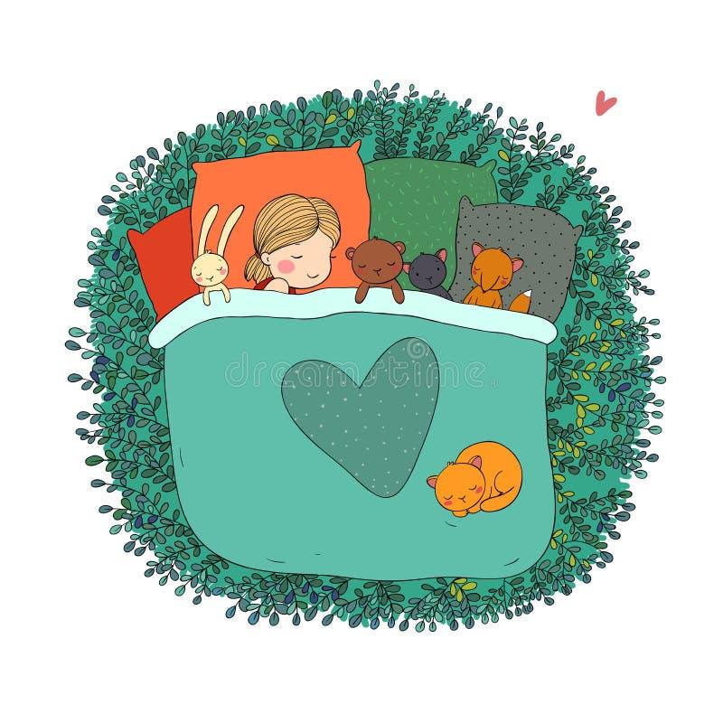 Barnet sover med hennes leksaker vektor illustrationer