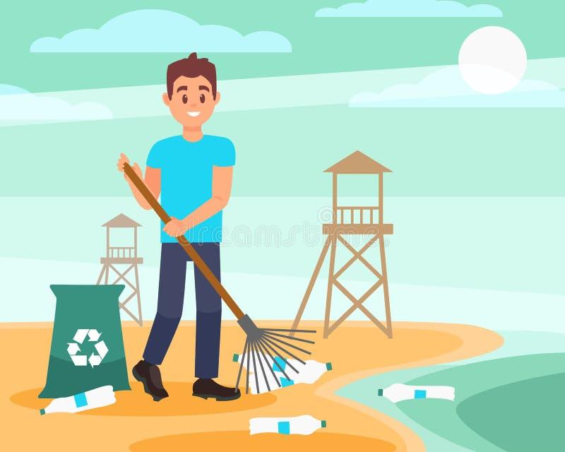 Barnet ställa upp som frivillig med krattar val av tomma plast- flaskor på stranden Blå himmel och träräddningsaktionen står högt stock illustrationer