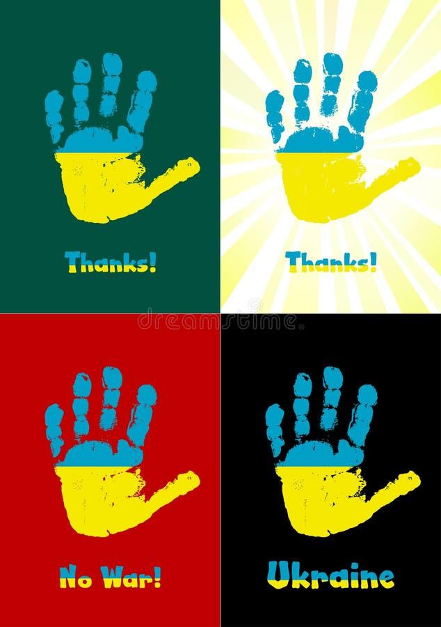 Barnets handprint, målar flaggan av Ukraina vektor illustrationer