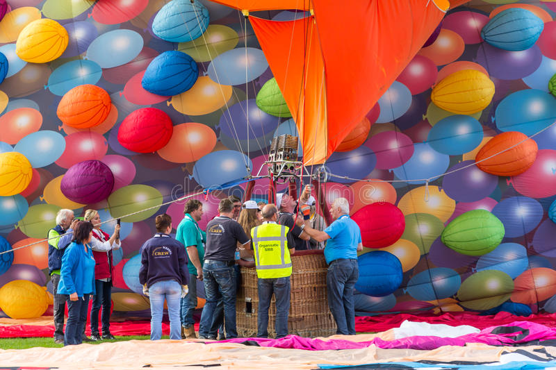 BARNEVELD, THE NETHERLANDS - AUGUST 28: Colorful air balloons ta stock photo