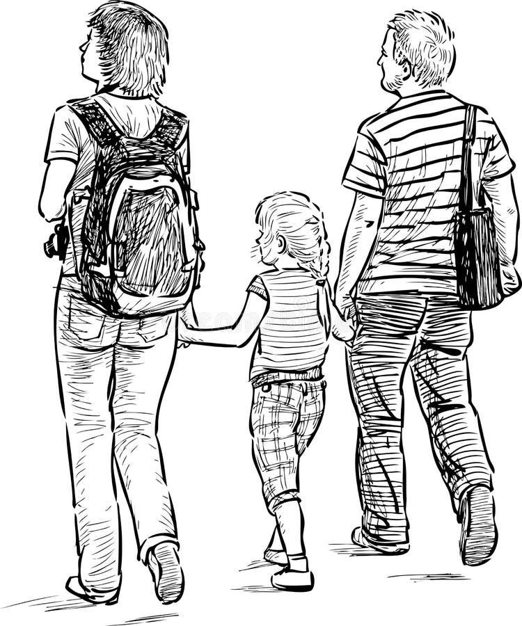 Barnföräldrar med deras dotter stock illustrationer