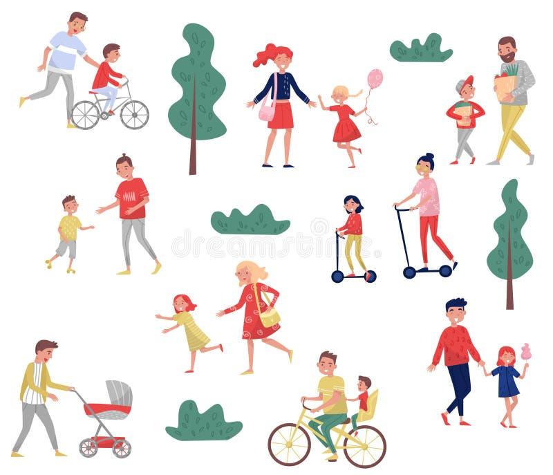 Barnföräldrar som spenderar tid med deras ungar utomhus- aktiviteter Familjdag lycklig barndom Plan vektoruppsättning stock illustrationer