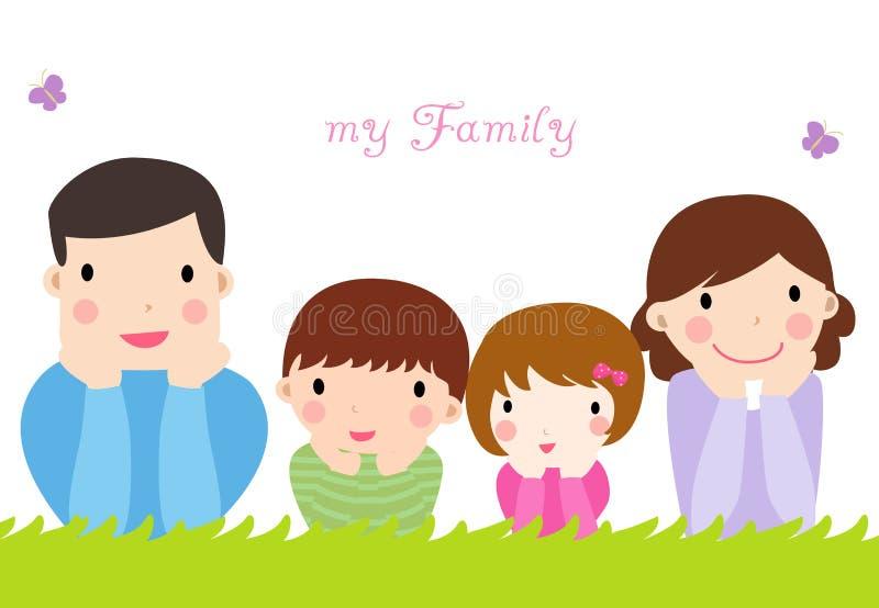 barnfamilj två royaltyfri illustrationer