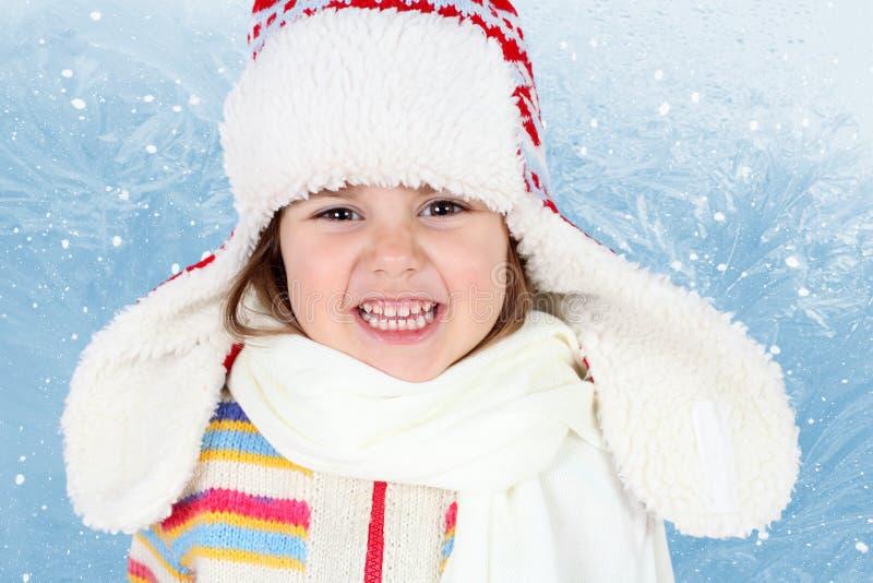 barnflickahatt little vinter royaltyfri fotografi