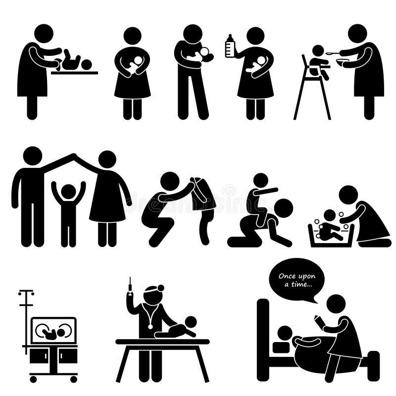Barnflickamoderfadern behandla som ett barn barnomsorgpictogramen stock illustrationer