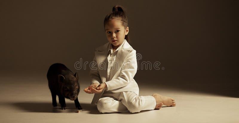 Barnflickan är sitta och mata den svarta vietnamesiska spädgrisen fotografering för bildbyråer
